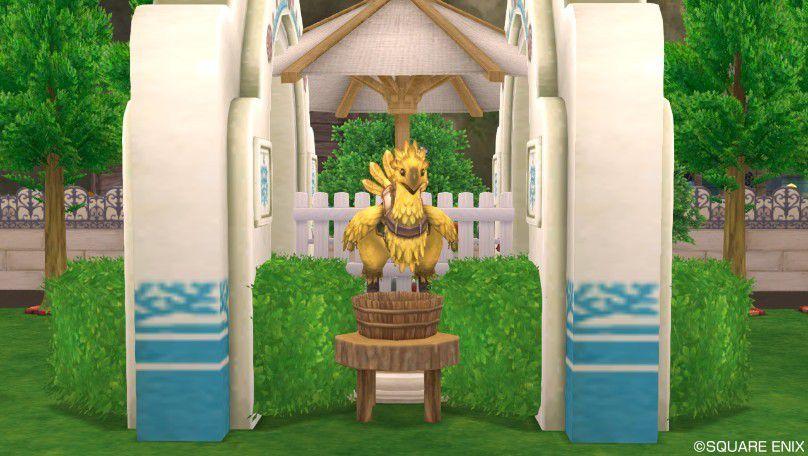 チョコボ厩舎の完成 最後にチョコボの像・庭を置いてチョコボ厩舎の完成です。始めに置いた丸太の..