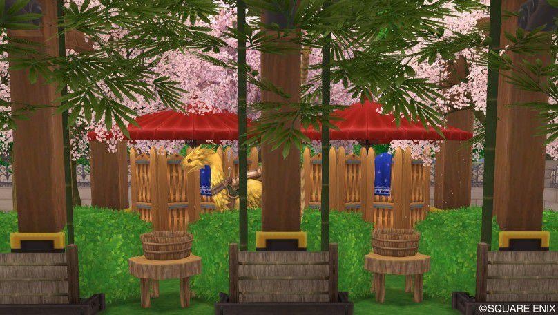 和風のチョコボ厩舎 こちらは和風のチョコボ厩舎です。白いビーチパラソルをお茶屋のパラソルにし..